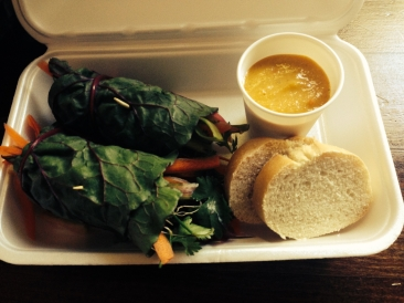 raw spring rolls wrapped in chard; served with spicy mango dipping sauce.