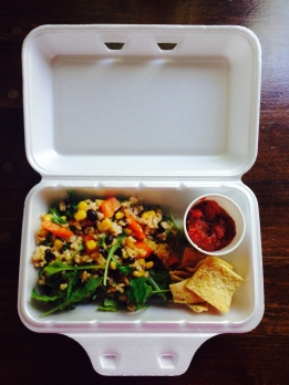 summer fiesta brown rice salad served with pita chips and homemade tomato, rhubarb and red pepper salsa.