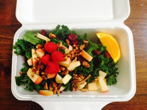 summer kale salad with sweet apple-cinnamon vinaigrette and pecan parmesan ... one bite and you'll never go back.
