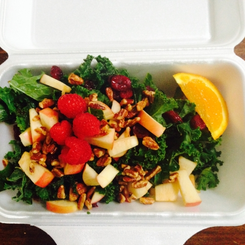summer kale salad with sweet apple-cinnamon vinaigrette