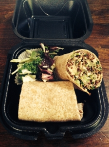 nic's personal favourite: the vegan burrito with broccoli, quinoa and cashew cheese.